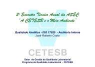 """3o Encontro Técnico Anual da ASEC """"A CETESB e o Meio Ambiente"""""""