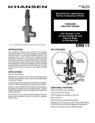G109j Threaded Shut-off Valves - Hansen Technologies