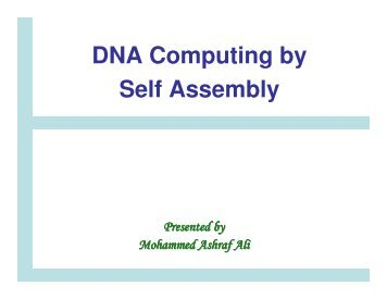 DNA Computing by self-assembly: Theory and experiments.