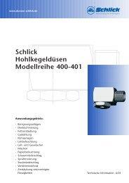 Schlick Hohlkegeldüsen Modellreihe 400-401 - Düsen-Schlick GmbH