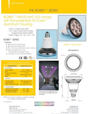 BOBBY™-PAR30-WHT LED Lamps with the patented ... - ColorStars