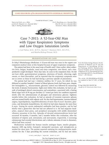 Case 7-2011: A 52-Year-Old Man with Upper Respiratory Symptoms ...