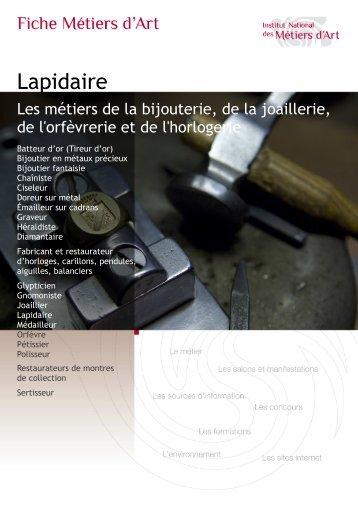 Lapidaire - Institut National des Métiers d'Art