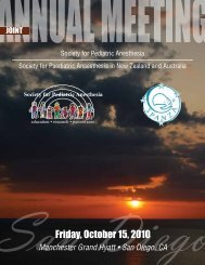 Friday, October 15, 2010 - The Society for Pediatric Anesthesia