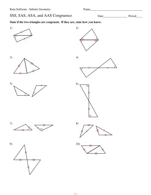 sss sas asa and aas congruence worksheet