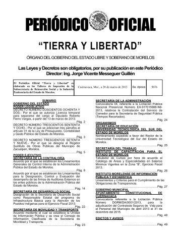 PERIÓDICO OFICIAL - Gobierno del Estado de Morelos
