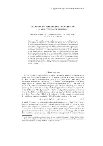 dilation of markovian cocycles on a von neumann algebra