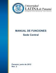 MANUAL DE FUNCIONES Sede Central - Universidad Latina de ...