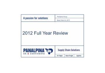 Financial presentation (PDF, 1MB) - Panalpina Annual Report 2012