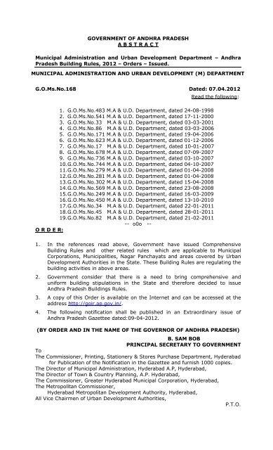 G O Ms No 168 - Tirupati Municipal Corporation