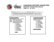 2013 Canadian Historic Grand Prix - Provisional Schedule