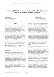 Studying Mobile Phone Use in Context: Cultural, Political, and ...