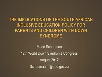 the implications of the south african inclusive education policy for ...