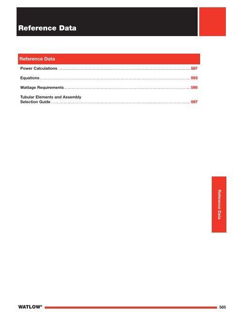 Heater Reference Data - Watlow