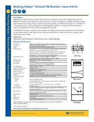 Hearing Helper™ Personal FM Receiver • Model ... - Williams Sound