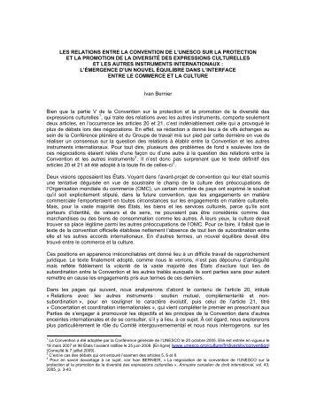 Les relations entre la Convention de l'UNESCO sur la protection et ...