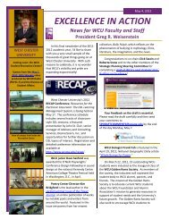 EXCELLENCE IN ACTION News for WCU Faculty and Staff ...