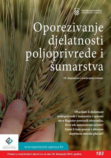 Oporezivanje djelatnosti poljoprivrede i Å¡umarstva - Porezna uprava