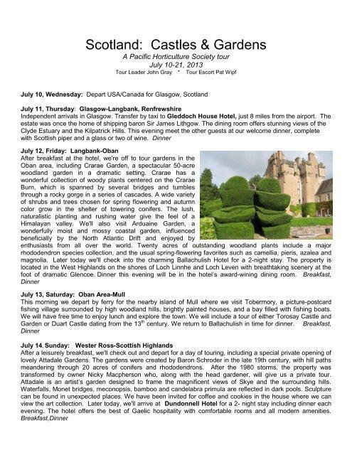 Scotland Castles Gardens Sterling Tours