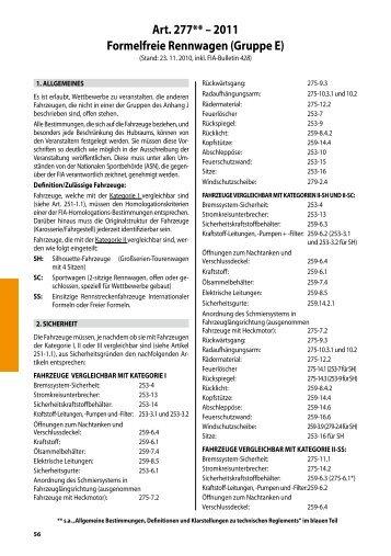 Art. 277** – 2011 Formelfreie Rennwagen (Gruppe ... - Gamma Racing