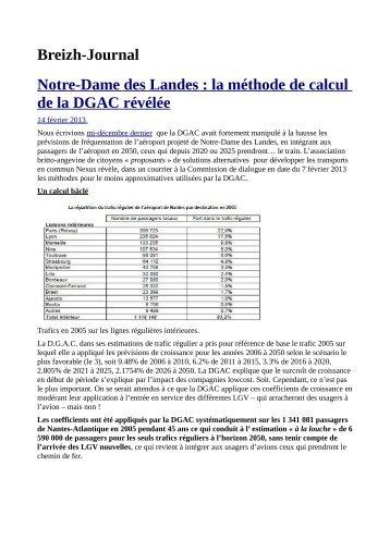 Breizh-Journal Notre-Dame des Landes : la méthode de calcul de la ...
