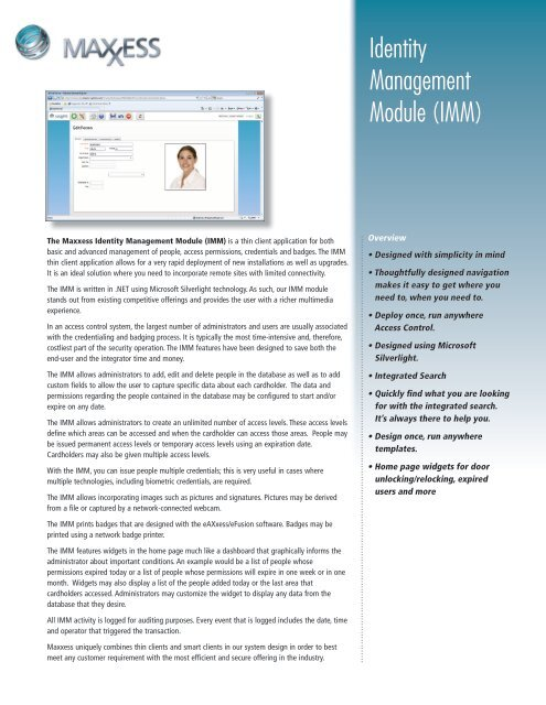 Identity Management Module Imm Maxxess Systems Inc