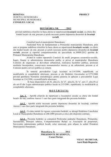 HCL criterii locuinte sociale - Primaria Municipiului Hunedoara