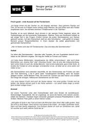 Neugier genügt, 24.02.2012 Service Garten - WDR 5