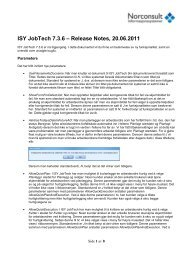 ISY JobTech 7.3.6 – Release Notes, 20.06.2011 - Norconsult