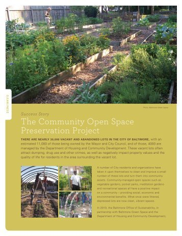 The Community Open Space Preservation Project - Baltimore Green ...