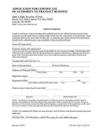 application for bonded certificate of title for a vehicle - Nebraska ...
