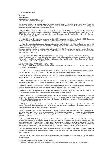 QUELLENVERZEICHNIS zu B14687-5 Rüdiger Glaser - WBG