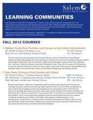LEARNING COMMUNITIES - Salem State University
