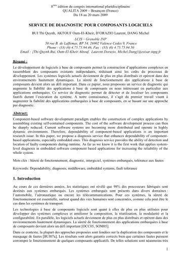TITRE DE LA COMMUNICATION {Times New Roman – 14 ... - ISIMA