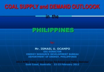 Coal Policy in the Philippines - Expert Group on Clean Fossil Energy