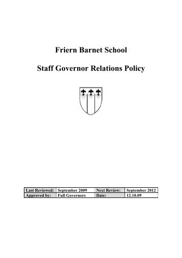 Friern Barnet School Staff Governor Relations Policy
