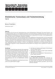 Dialektische Textanalyse und Textentwicklung - Zeitschrift Schreiben