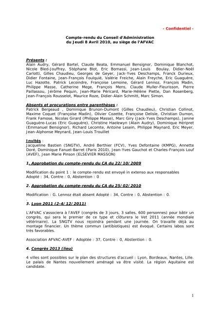 - Confidentiel - Compte-rendu du Conseil d'Administration ... - AFVAC