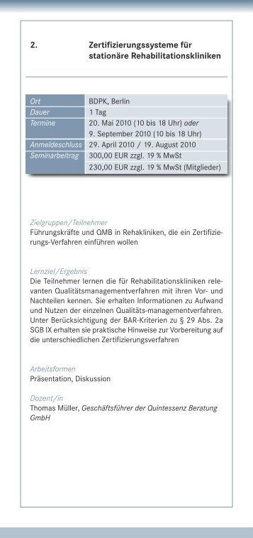 2. Zertifizierungssysteme für stationäre Rehabilitationskliniken