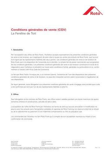 Conditions générales de vente (CGV) - La Fenêtre de Toit - Roto