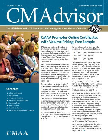CMAA Promotes Online Certificates with Volume Pricing, Free Sample