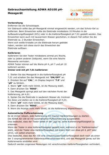 PH meter AD100 ADWA gebrauchsanleitung - Headshop