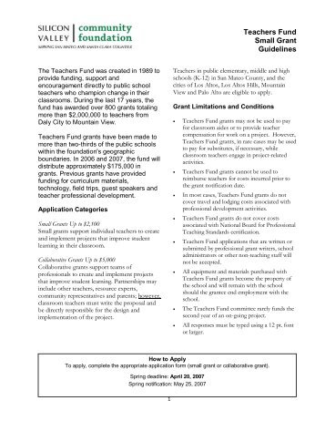 2007 Teachers Fund Small Grant Guidelines and Application