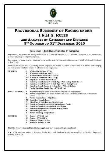 I.N.H.S. RULES - Horse Racing Ireland