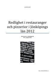 Redlighet i restauranger och pizzerior i Jönköpings län 2012