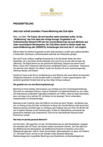 Frauen-Mentoring des Club alpha - Strass-Wasserlof