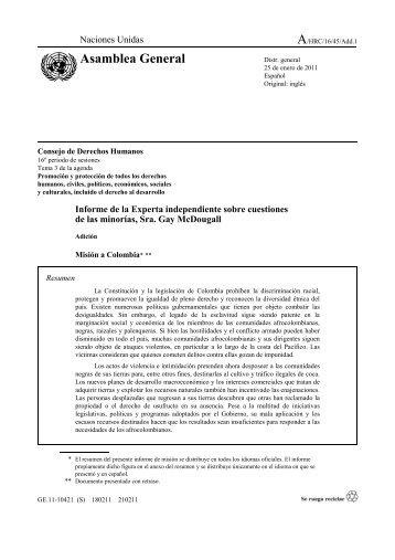 Adición al Informe de la Experta Independiente de las ... - Acnur