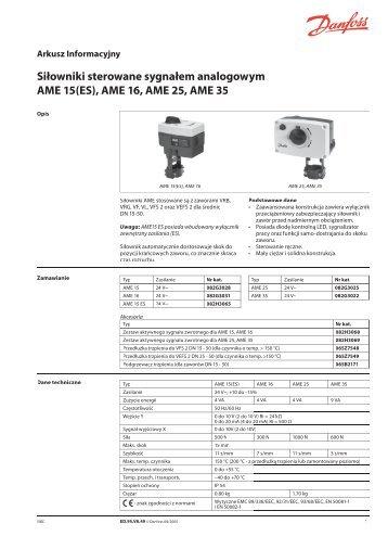 Siłowniki sterowane sygnałem analogowym AME 15(ES ... - Danfoss