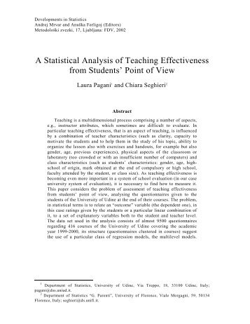 A Statistical Analysis of Teaching Effectiveness from Students' Point ...