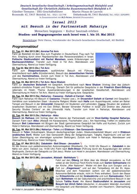 Israel 2013 mit Besuch in der Partnerstadt Nahariya - Deutsch ...